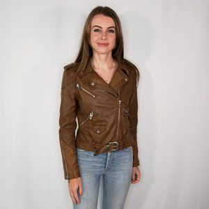 BLANK NYC Cognac Faux Leather Moto Jacket Zip Up